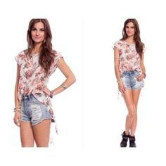 """Sheer Floral High Low Top 100% Polyester Made in the U.S.A. Color: White 23"""" in the front 31"""" in the back Tops"""