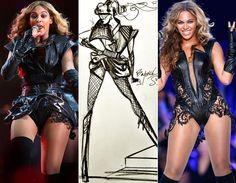 Beyoncé no Super Bowl 2013 com um figurino de Rubin Singer.