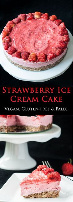 Strawberry Ice Cream Cake Recipe with only 4 Ingredients! | VeganFamilyRecipes.com | #raw vegan #clean eating #glutenfree #dessert #fruit #summer #strawberries