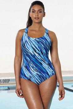 b55c97d6954fe Aquabelle Whirlpool Crossback Swimsuit Chlorine Resistant Swimwear