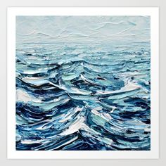 acrylic on canvas painting, www.annmariecoolick.com<br/> <br/> seascape, sea, ocean, water, waves, white caps, navy blue, sky