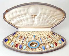 Box of silver and enamel spoons presented as a wedding gift to   King George VI and Queen Elizabeth 1923:   [The Royal Collection Her Majesty Queen Elizabeth II]