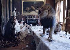 """The Lion King""  Love Magazine, July 2013  Photographer: Tim Walker  Models: Karen Elson, Edie Campbell"
