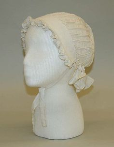 Bonnet, 1799–1815, American or European, cotton.    (Love the cording on this bonnet! Click through to the Met for back view.)