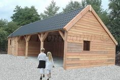 Custom-made storage by Jaro Houtbouw Carport Sheds, Carport Garage, Barns Sheds, Garage Plans, Diy Pole Barn, Pole Barn Garage, Pole Barn Designs, Carport Designs, Timber Frame Garage