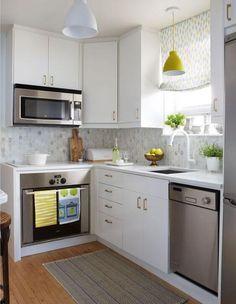 Small Modern Kitchens, Small Kitchen Layouts, Small Space Kitchen, Modern Kitchen Design, Home Kitchens, Small Spaces, Kitchen Designs, Kitchen Contemporary, Narrow Kitchen