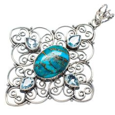 "Huge Blue Copper Composite Turquoise, Blue Topaz 925 Sterling Silver Pendant 2 1/2"" PD541007"