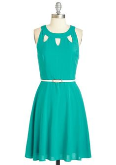 Cutout of this World Dress in Aqua. Flaunt your incredible sense of style in this teal-green frock. #gold #prom #modcloth