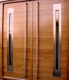 M027-1 puerta doble de entrada de madera con acero