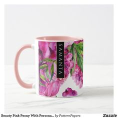 Shop Beauty Pink Peony With Personalized Name Mug created by PatternPapers. Pink Peonies, Peony, Pink Flowers, Modern Mugs, Name Mugs, Top Gifts, Green Leaves, Retro Vintage, Abstract
