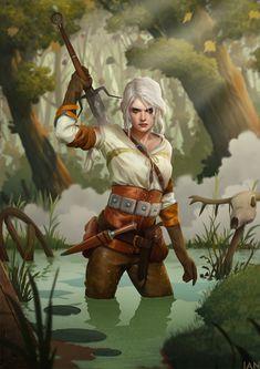 Ciri (The Witcher 3: Wild Hunt), Ian Loginov on ArtStation at https://www.artstation.com/artwork/kx4Gd