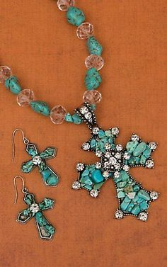 Cindy Smith Co Turquoise Beaded Cross and Crystals Jewelry Set