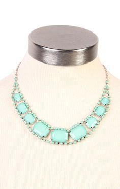 Deb Shops #mint large stone bead necklace