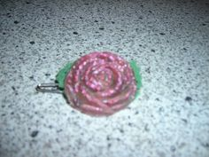 resin rose barrette, with felt leaves