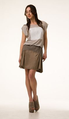 Kick Skirt Grey with Putty modern chic style made to by outofline, $110.00