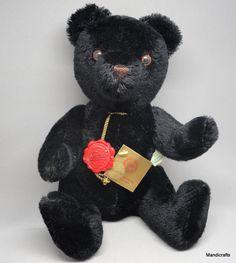Hermann Original Teddy Bear Black Mohair Plush 12in 30cm Growler 1980s W Germany #Hermann #AllOccasion