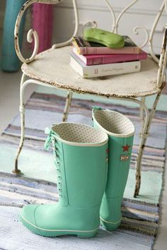 Mint lace-up rain boots Shades Of Turquoise, Aqua Blue, Mint Green, Mint Color, Color Azul, Cute Boots, Tiffany Blue, Sea Foam, Favorite Color