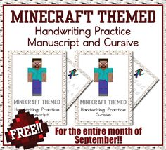 Free printable Minecraft-Themed Handwriting Practice Sheets - Money Saving Mom® Find ways that Minecraft improves executive functions and learning in school. Cursive Handwriting Practice, Handwriting Activities, Improve Your Handwriting, Handwriting Analysis, Handwriting Worksheets, Money Saving Mom, Fun Learning, Learning Resources, Algebra