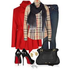 Burberry Shirt, Louboutin shoes and true religion jeans. Nice leather bag and very very chic look! Camisa Burberry, Burberry Shirt, Only Fashion, Red Fashion, Star Fashion, Fashion Outfits, Womens Fashion, Fashion Trends, Fashion Shoes