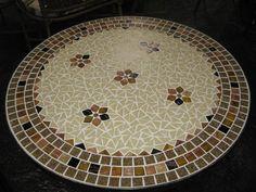 Tampo de mosaico de 80 cm de diametro  pastilha de vidro  cores - bege / marrom brilhante  frete por conta do comprador