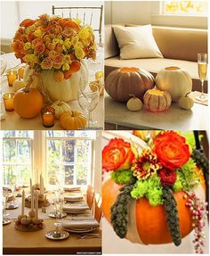 table arrangements or centerpiece for a fall wedding