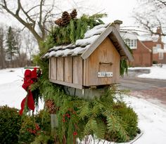 Add a swag of pine boughs and some ribbon to make your mailbox merry! - Traditional Home®