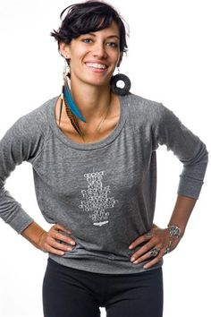 I Appear - Heather-Soft Relaxed Long Sleeve Yoga Shirt Pullover in Heather Gray by Be Love. A poem and a prayer celebrating our connection with the Divine and Sacred in everything. Earth—Air—Fire—Water and Spirit….the essential elements of life. $47.95 at www.karmicfit.com #yoga #yogashirts