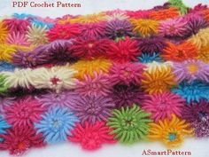 PDF Crochet Pattern-Crochet Dahlia Garden Blanket,Afghan,Bedspread,Throw by ASmartPattern,Instant Download PDF file.