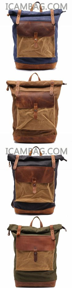 a075d05d4cfd LEISURE MEN S AND WOMEN S LEATHER CANVAS BACKPACK LEATHER SHOULDER BAG IPAD  BAG LAPTOP BACKPACK 1809