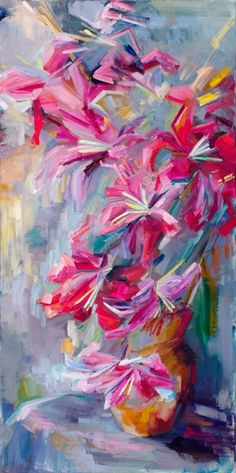 The last day of lilies I Oil on canva I Lena Levin
