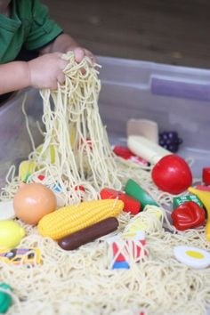 Cloudy With A Chance Of Meatballs sensory bin Repinned by SOS Inc. Resources http://pinterest.com/sostherapy.