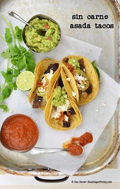 Sin Carne Asada #Tacos made with #seitan, #guacamole and arbol salsa. Zsu's #Vegan Pantry #vegetarian #meatless