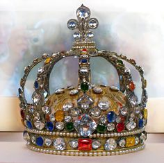 The Crown of King Louis XV (1710-1774), known as Louis the Well Beloved, France. He was born Duke of Anjou of the House of Bourbon, the 2nd Child of Louis de France (1682-1712) France & Marie Adélaide (1685-1712) Savoy, France. Both of his parents died of measles within a week of each other when Louis XV was age 5. Philippe d'Orléans (Philippe Charles) (1674-1723) France, his 1st cousin twice removed, was Regent of France until Louis XV was old enough to rule.