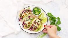 (The Best) Fish Tacos with Honey Lime Cilantro Slaw • One Lovely Life Slaw For Fish Tacos, Fish Tacos With Cabbage, Healthy Fish Tacos, Easy Fish Tacos, Cabbage Slaw, Gf Recipes, Fish Recipes, Seafood Recipes, Vegetarian Recipes