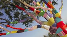 The Oxford English Dictionary agrees: yarn bombing and yarnstorm are real words. Guerilla Knitting, Cursive Words, Learn How To Knit, Yarn Bombing, Tree Art, Garden Art, Craft Supplies, Graffiti, Craft Projects