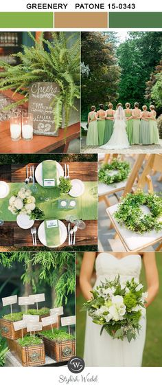 greenery and brown spring and summer wedding colors for 2017 trends