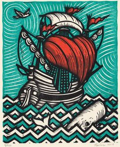 Peter Nevins ~ Sea of Love ~ Woodcut, 11 x 14 inch
