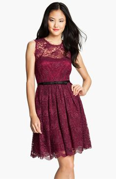 Doesn't come in blue, but I really like this! Taylor Dresses Illusion Yoke Lace Fit & Flare Dress available at #Nordstrom