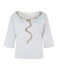 Bugle Embellished Cotton Sweatshirt