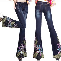 2015 new fashion blue jeans embroidered beading decoration unique female elastic bell bottom denim trousers brand jeans horn _ {categoryName} - AliExpress Mobile Lace Jeans, Cut Jeans, Cute Fashion, Fashion Pants, Womens Fashion, Winter Stil, Painted Clothes, Embellished Jeans, Denim Flares