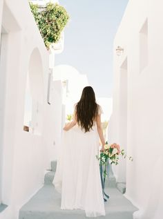 With its blue, gold, and white color palette inspired by the natural landscape and architecture of Santorini, every image is insanely gorgeous. Blue Crush, Santorini, White Dress, Weddings, Bridal, Wedding Dresses, Inspiration, Color, Image