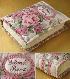 Book pillows - Patchwork Pottery - what a neat idea Book Pillow, Book Quilt, Sewing Hacks, Sewing Tutorials, Sewing Patterns, Quilting Projects, Sewing Projects, Fabric Crafts, Sewing Crafts