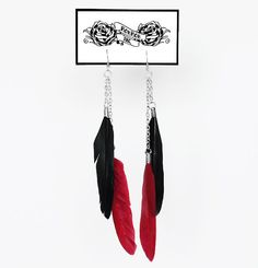 DIY handmade design jewellery, feather earrings. Black & red, rock, punk.