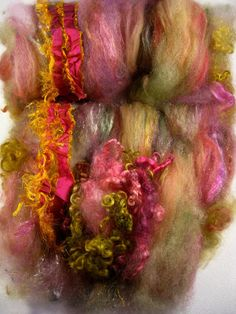 Rose Gold Wild Card Bling Batt for Spinning and by yarnwench, $34.00