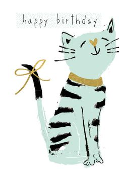 Pleased Cat A Simple Choice for a Cat Lover. Happy Birthday Pictures, Happy Birthday Wishes, Birthday Images, Birthday Greetings, Birthday Celebration, Birthday Cards, Creative Cards, Making Ideas, Cat Lovers