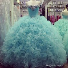 Light Blue Crystals Beaded Quinceanera Dresses 2016 Strapless Tulle Ruffles Tulle Ball Gown Prom Dresses Lace Up Back Girls Pageant Gowns Light Purple Quinceanera Dresses Lilac Quinceanera Dresses From Angelia0223, $241.02| Dhgate.Com
