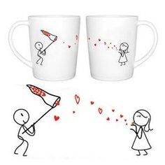 "BoldLoft ""Catch My Love\"" Couple Coffee Mug Set-Cute Valentines Gifts,Valentines Pillowcases,Valentines Day Romantic Gifts,Unique Valentines Day Gifts: Kitchen & Dining"