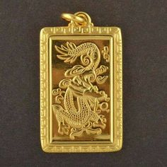Eyeful Men's Gold Plated Carved Dragon Square Shaped Pendants