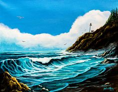 Heceta Head Lighthouse Oregon Coast Painting by Nadine and Bob Johnston - Heceta Head Lighthouse Oregon Coast Fine Art Prints and Posters for Sale