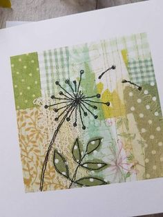 This card is a print of an original textile artwork made and designed by me, and depicts a dandelion blown in the wind. It has been printed onto 350gsm card, and has been left blank inside for your own message. Size 6 x 6 The card comes with a white envelope and is sealed in a